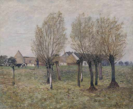 famous painting A Normandy Farm of Alfred Sisley