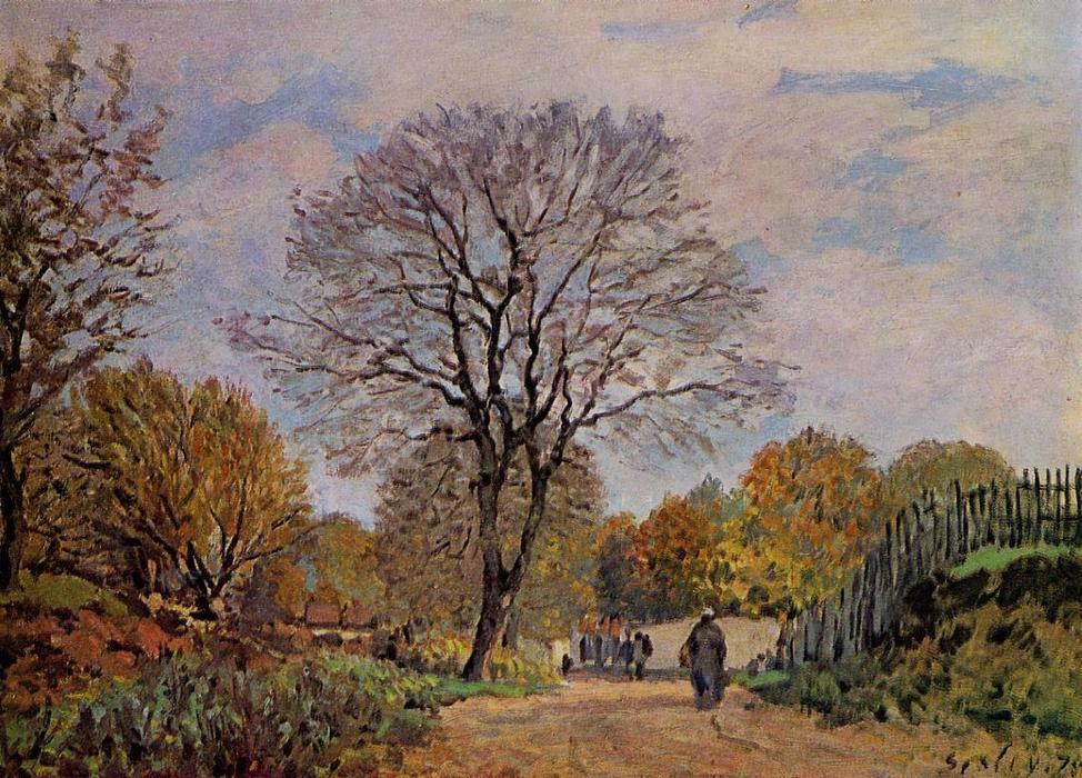 famous painting A Road in Seine et Marne of Alfred Sisley