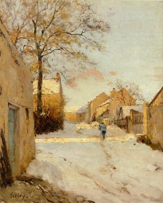 famous painting A Village Street in Winter of Alfred Sisley