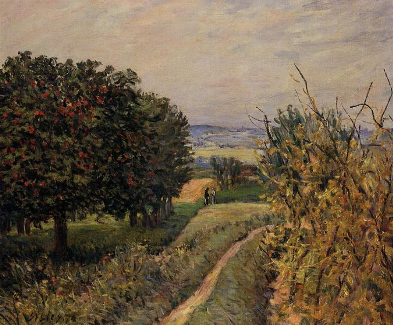 famous painting Among the Vines near Louveciennes of Alfred Sisley