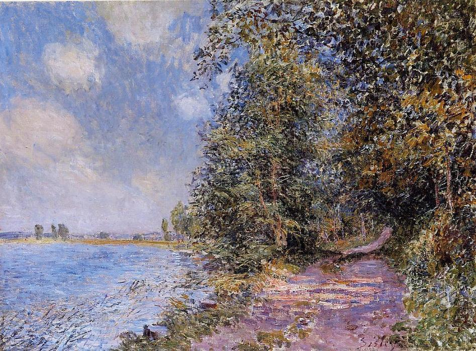 famous painting An August Afternoon near Veneux of Alfred Sisley