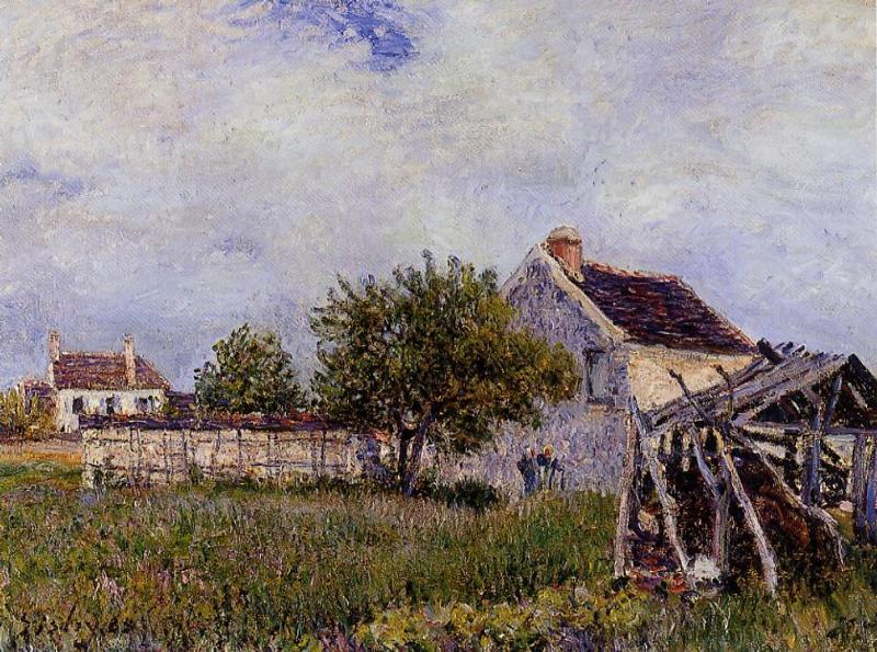 famous painting An Old Cottage at Sablons of Alfred Sisley