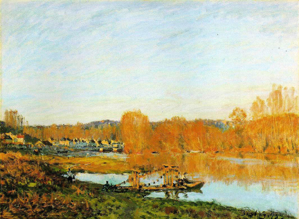 famous painting Autumn Banks of the Seine near Bougival of Alfred Sisley