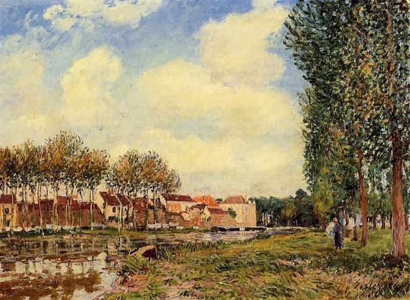 famous painting Banks of the Loing at Moret, Morning of Alfred Sisley