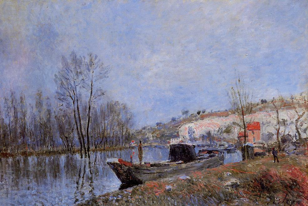 famous painting Banks of the Loing towards Moret of Alfred Sisley