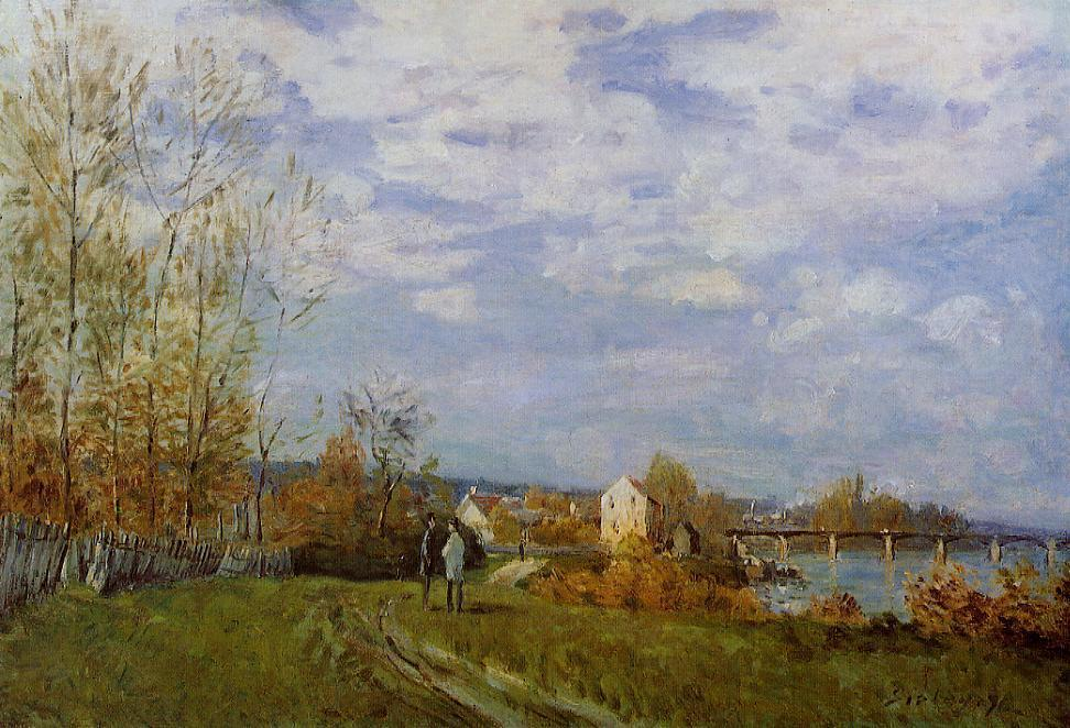 famous painting Banks of the Seine at Bougival of Alfred Sisley