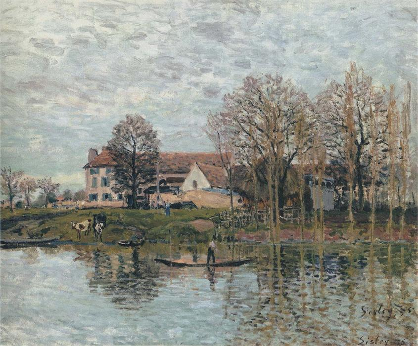 famous painting Banks of the Seine at Port Marly of Alfred Sisley