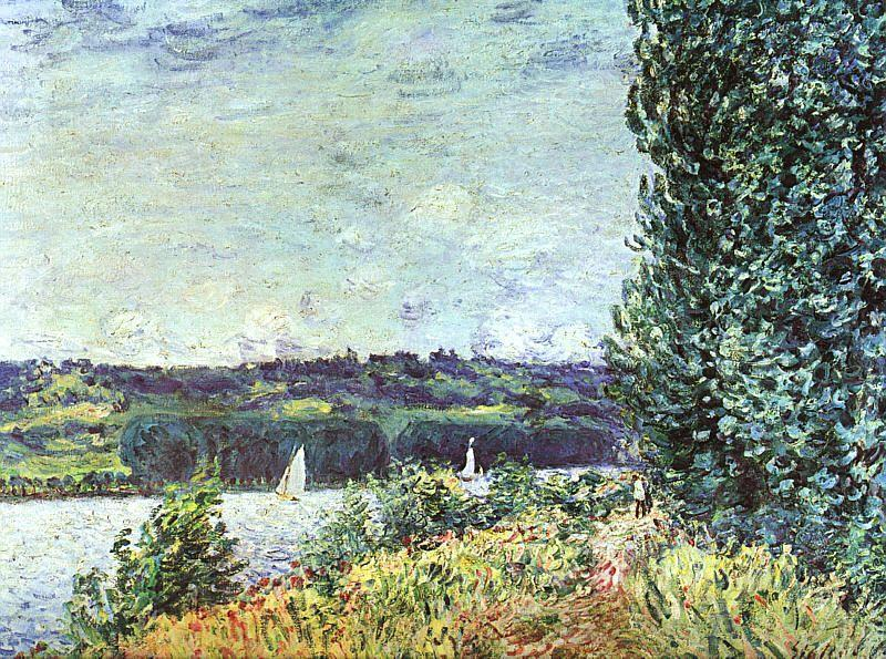 famous painting Banks of the Seine, Wind Blowing of Alfred Sisley