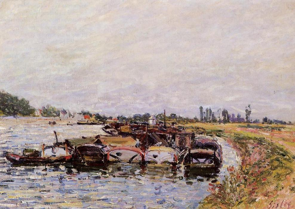 famous painting Barge Garage at Saint Mammes of Alfred Sisley