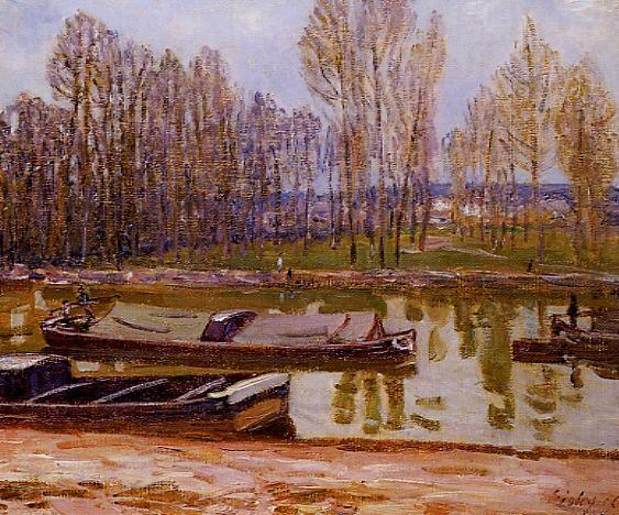 famous painting Barges on the Loing Canal, Spring of Alfred Sisley