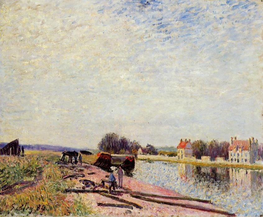 famous painting Barges on the Loing, Saint Mammes of Alfred Sisley