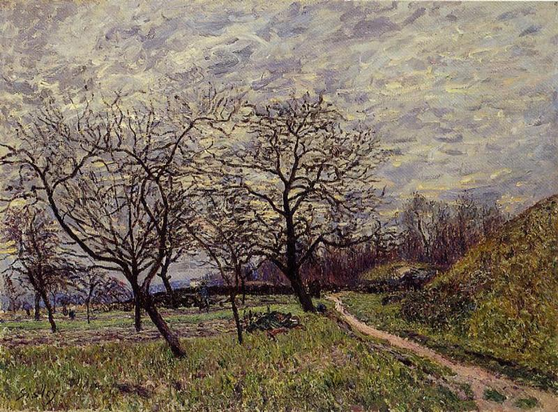 famous painting Between Veneux and By December Morning of Alfred Sisley