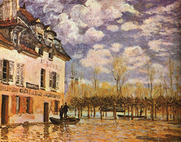famous painting Boat During a Flood of Alfred Sisley