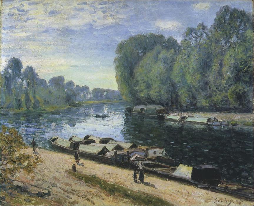 famous painting Boats on the Loing River of Alfred Sisley