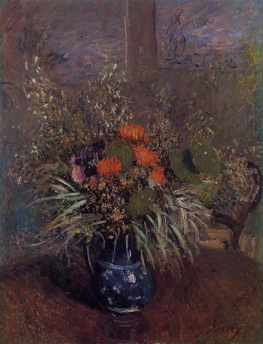 famous painting Bouquet of Flowers of Alfred Sisley