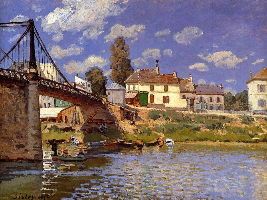 famous painting Bridge at Villeneuve-la-Garenne 1 of Alfred Sisley