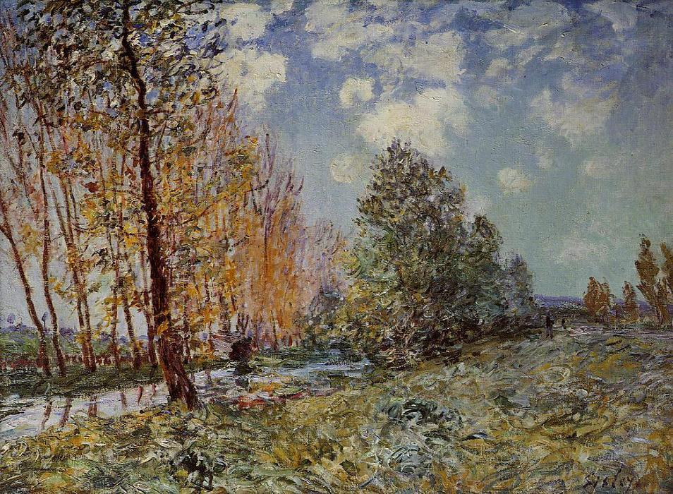 famous painting By the River of Alfred Sisley