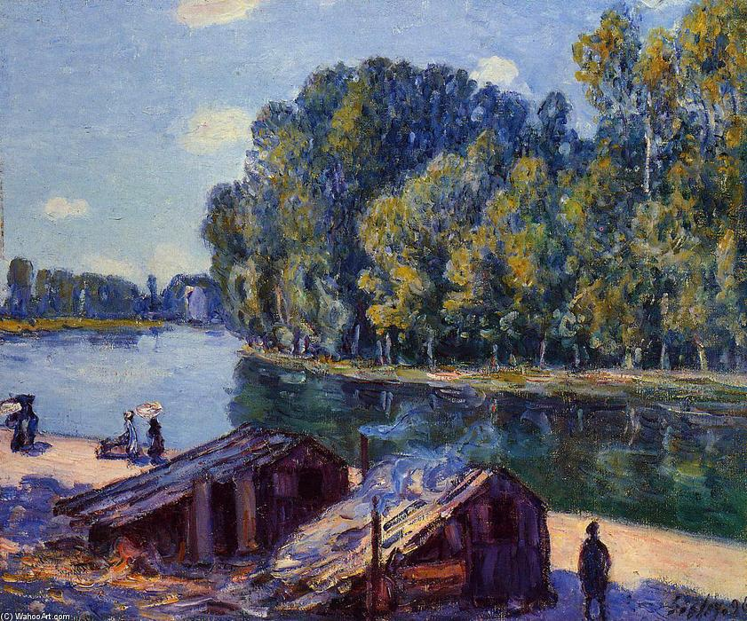 famous painting Cabins along the Loing Canal, Sunlight Effect of Alfred Sisley