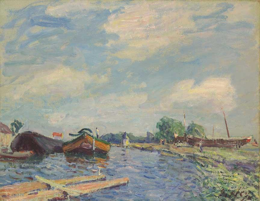 famous painting Canal at Saint Mammes of Alfred Sisley