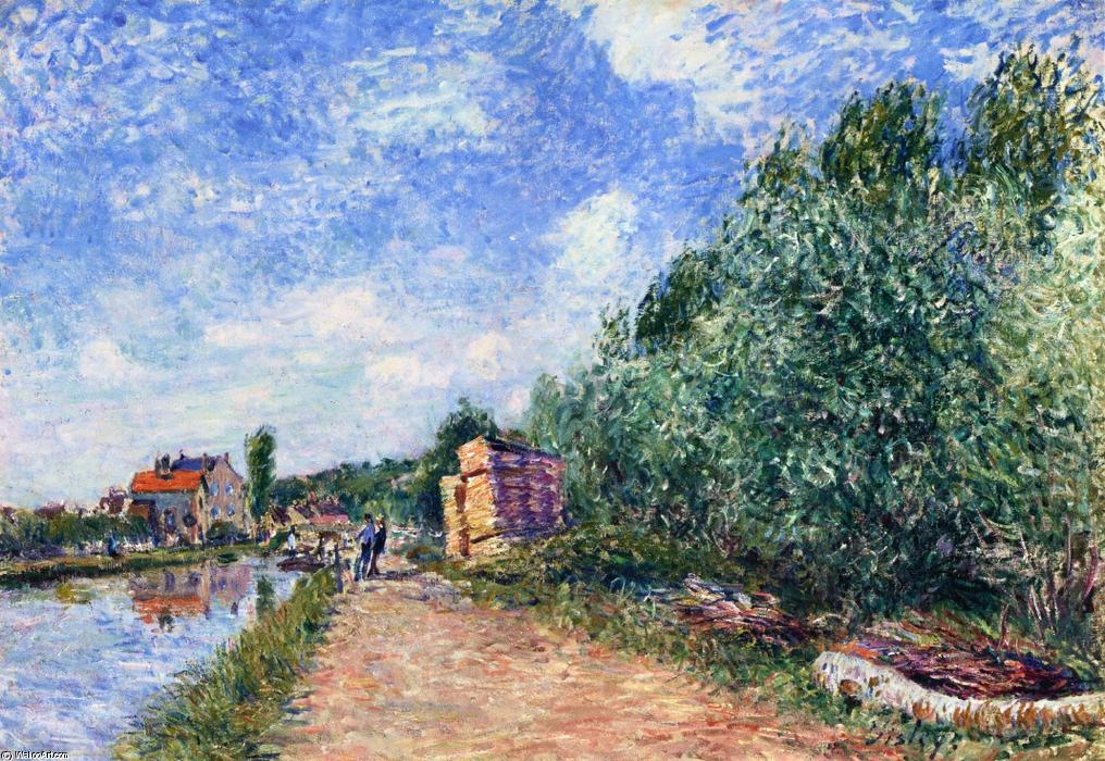famous painting Canal du Loing Chemin de Halage of Alfred Sisley