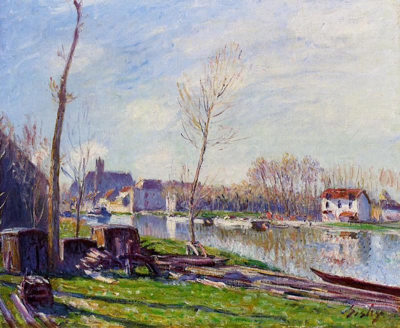 famous painting Construction Site at Matrat, Moret sur Loing of Alfred Sisley