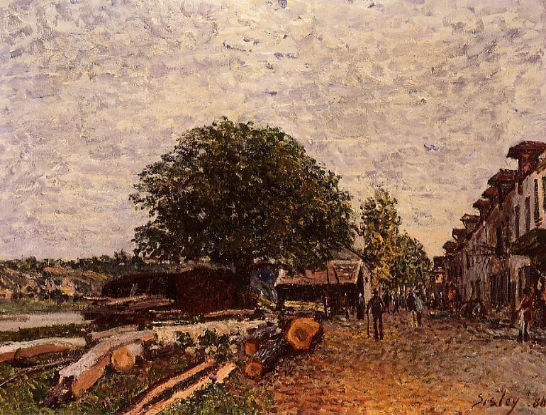 famous painting Construction Site at Saint Mammes of Alfred Sisley