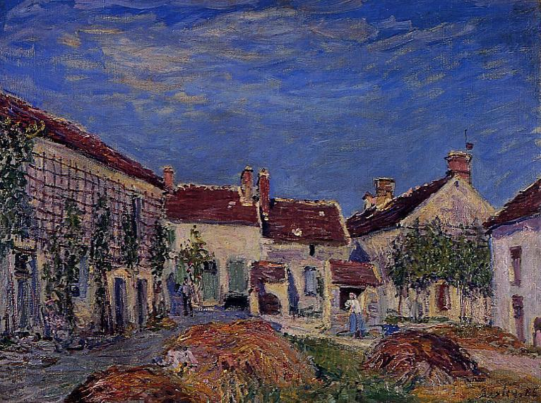famous painting Courtyard at Les Sablons of Alfred Sisley