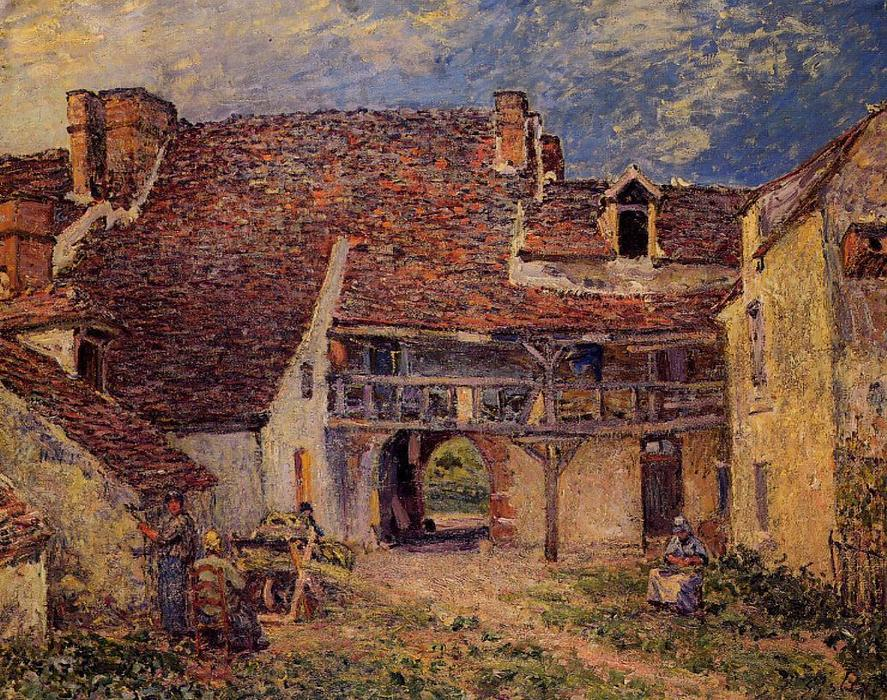 famous painting Courtyard of a Farm at Saint Mammes of Alfred Sisley