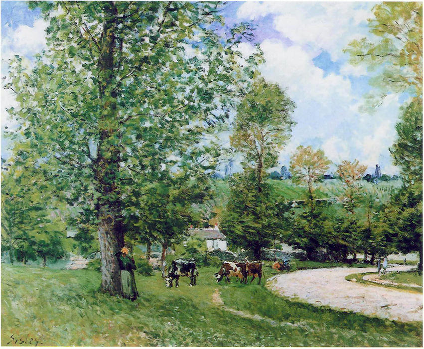 famous painting Cow Pasture near Louveciennes of Alfred Sisley