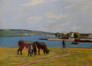 Alfred Sisley - Cows by the Seine at Saint Mammes