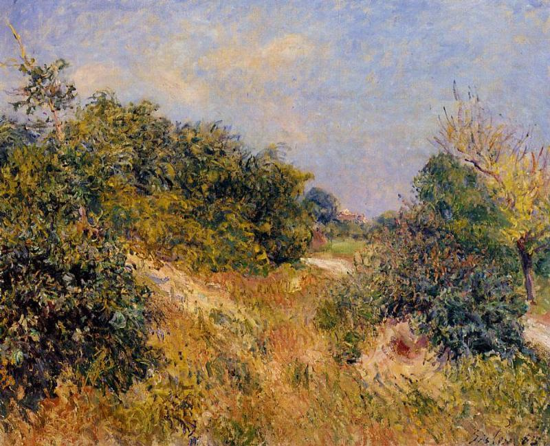famous painting Edge of Fountainbleau Forest June Morning of Alfred Sisley