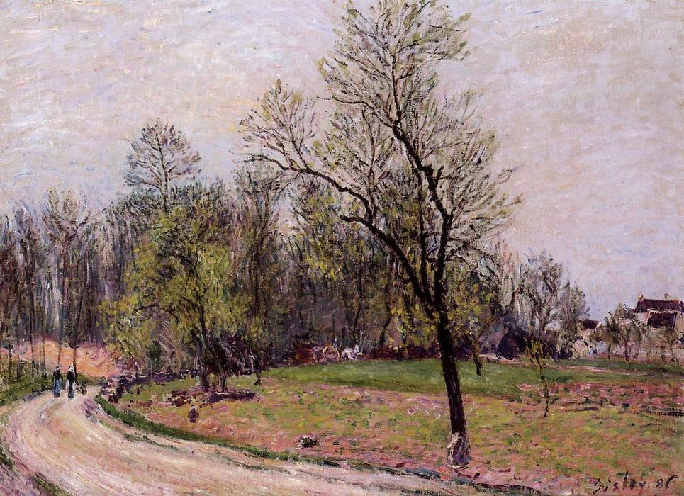 famous painting Edge of the Forest in Spring, Evening of Alfred Sisley