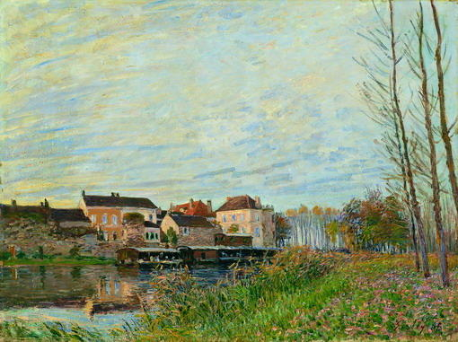 famous painting Evening in Moret, End of October of Alfred Sisley