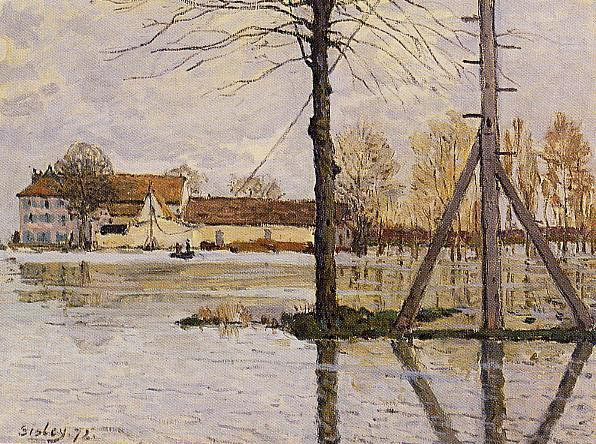 famous painting Ferry to the Ile de la Loge, Flood of Alfred Sisley