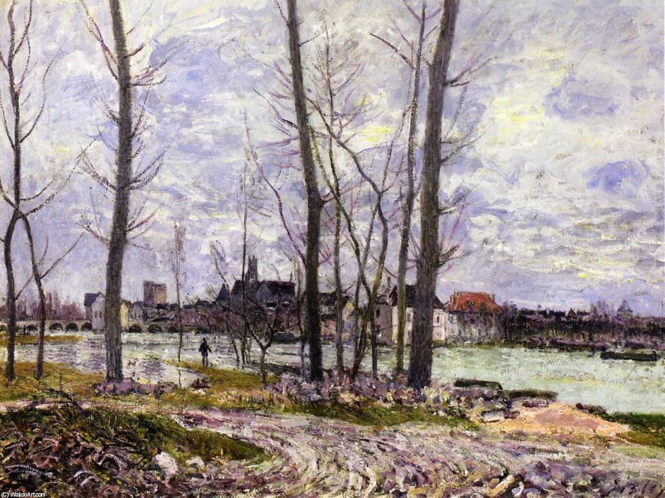famous painting Flood at Moret sur Loing of Alfred Sisley