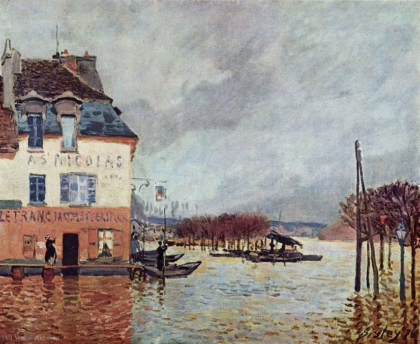 famous painting Flood at Pont-Marley of Alfred Sisley