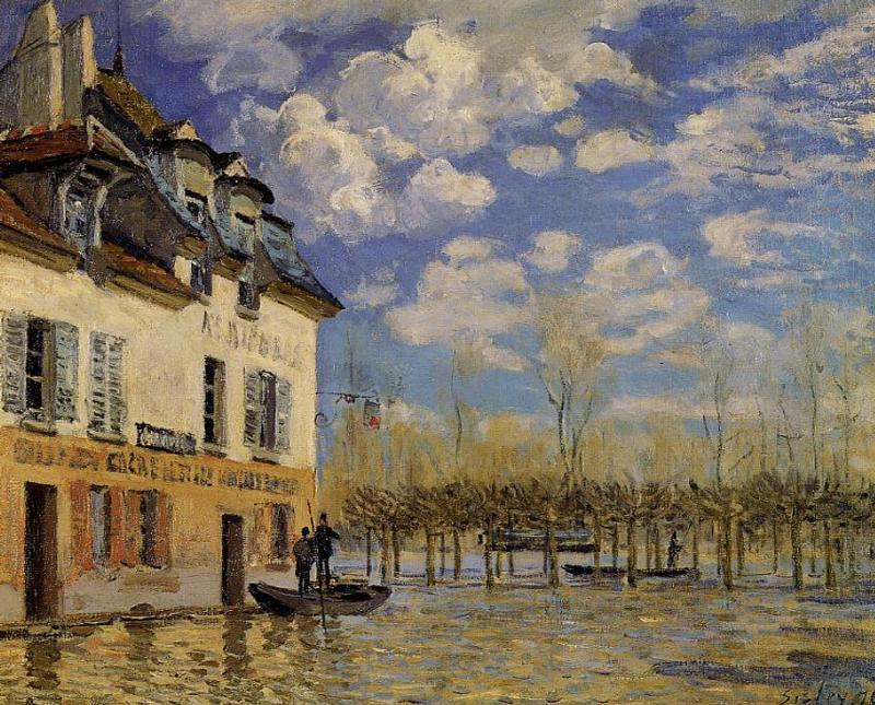 famous painting Flood at Port-Marly 1 of Alfred Sisley