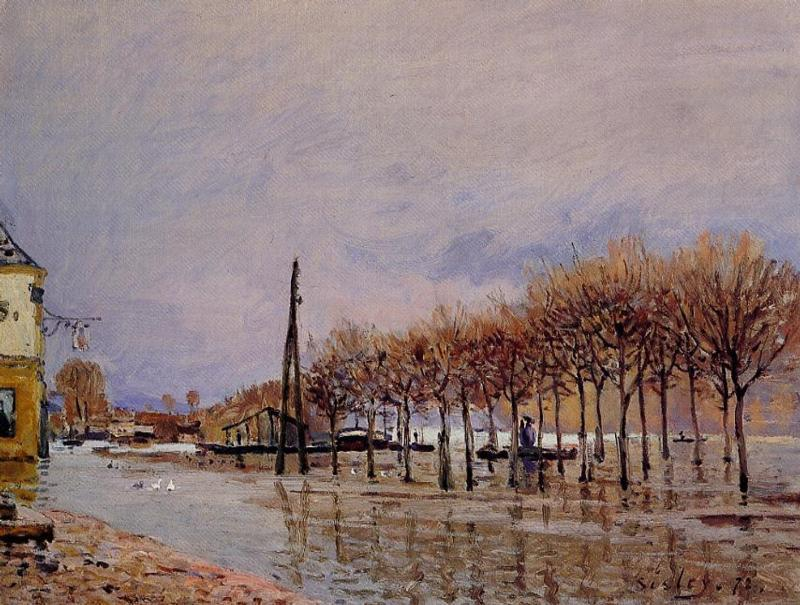 famous painting Flood at Port Marly of Alfred Sisley