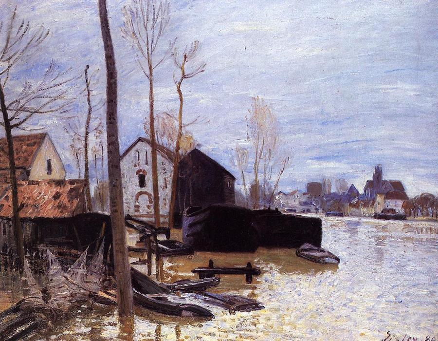 famous painting Flooding at Moret of Alfred Sisley