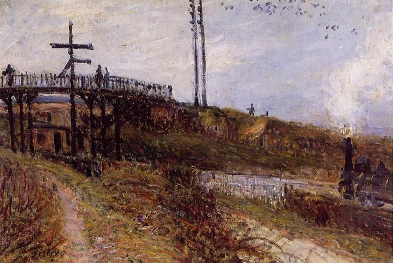 famous painting Footbridge over the Railroad at Sevres of Alfred Sisley