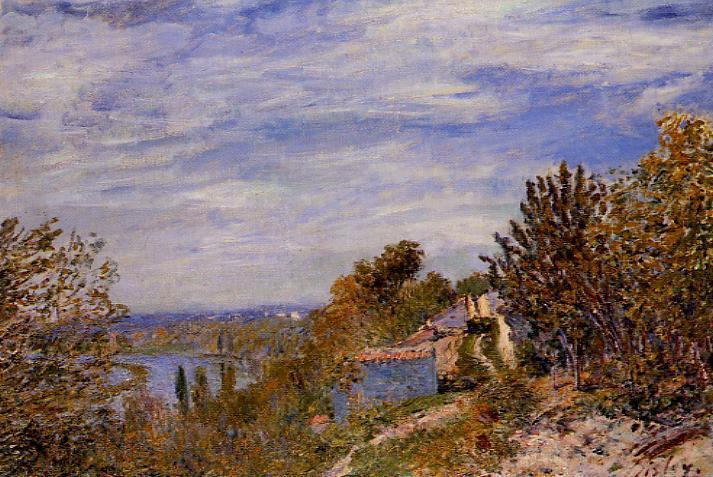 famous painting Footpath in the Gardens at By of Alfred Sisley