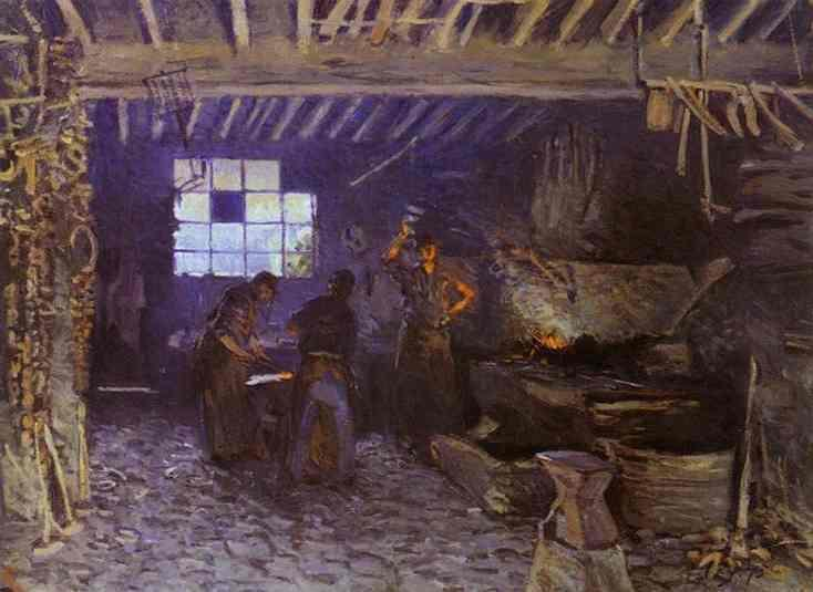 famous painting Forge at Marly le Roi of Alfred Sisley