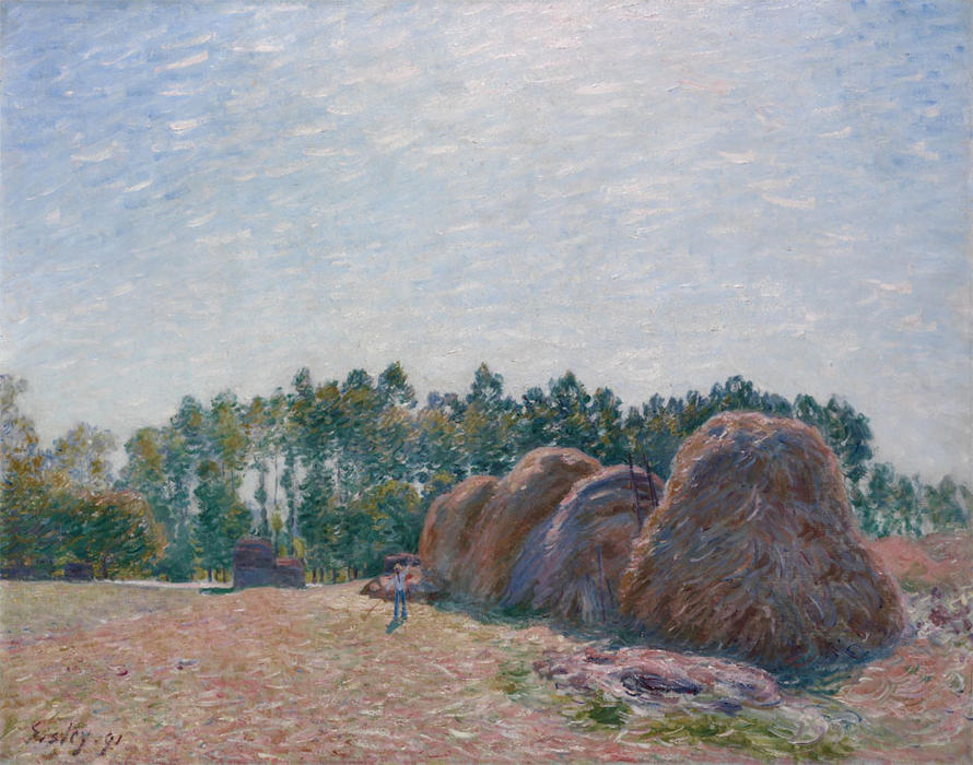 famous painting Haystacks at Moret Morning Light of Alfred Sisley
