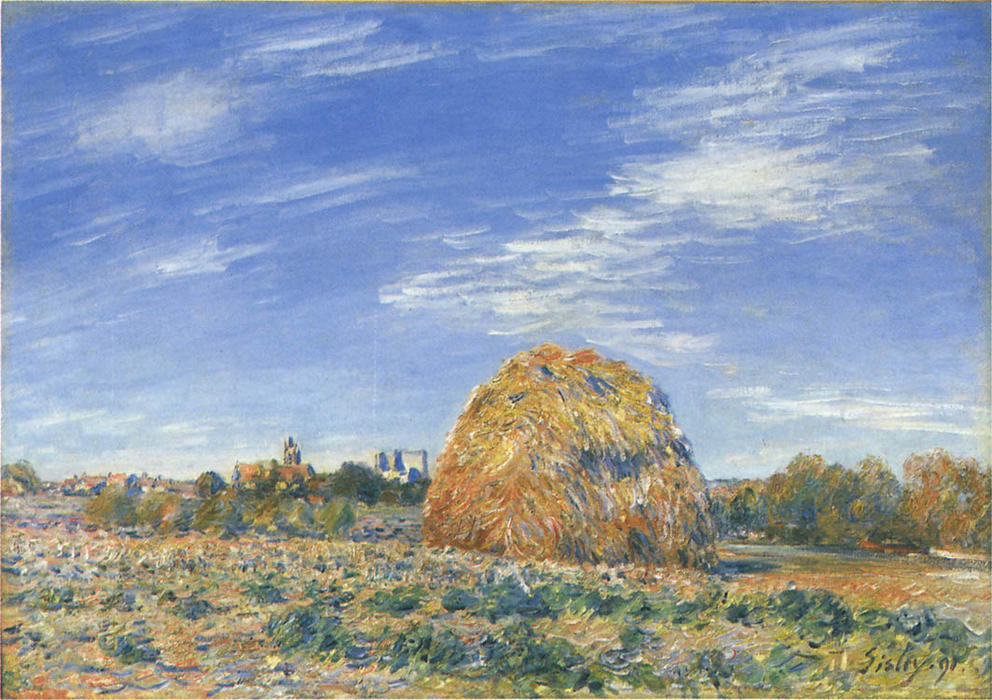 famous painting Haystacks in Moret in October of Alfred Sisley