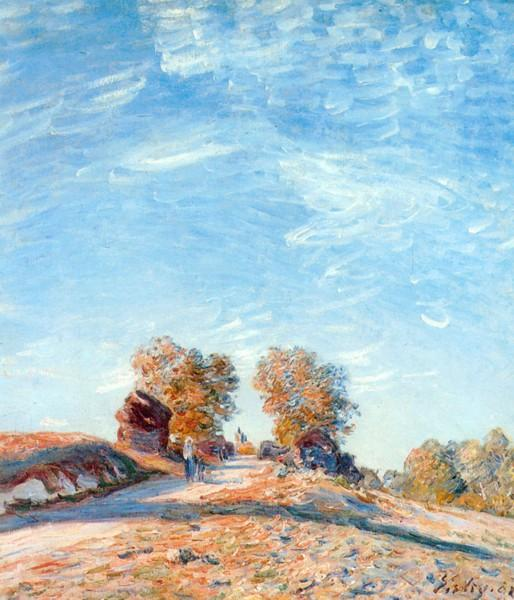 famous painting Hill Path in Sunlight of Alfred Sisley
