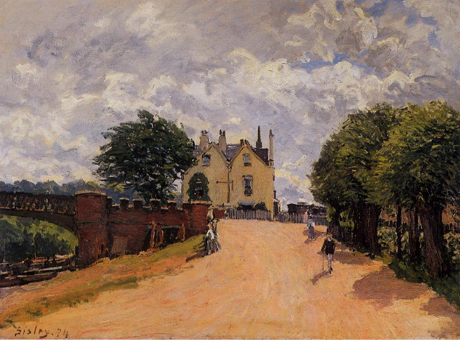 famous painting Inn at East Molesey with Hampton Court Bridge of Alfred Sisley
