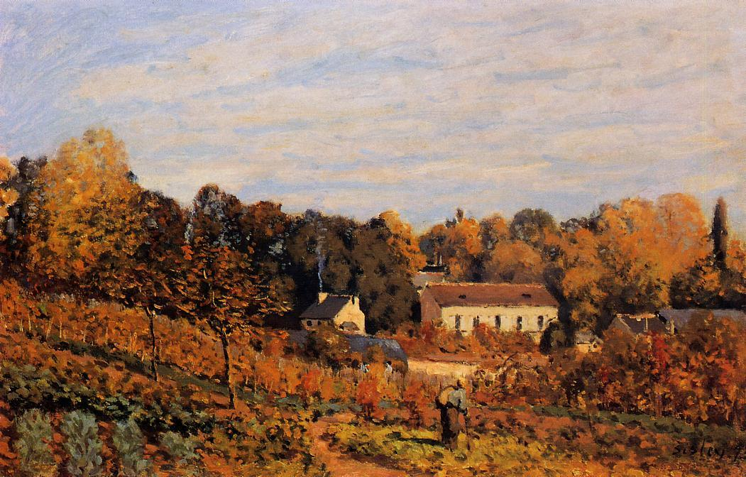 famous painting Kitchen Garden at Louveciennes of Alfred Sisley