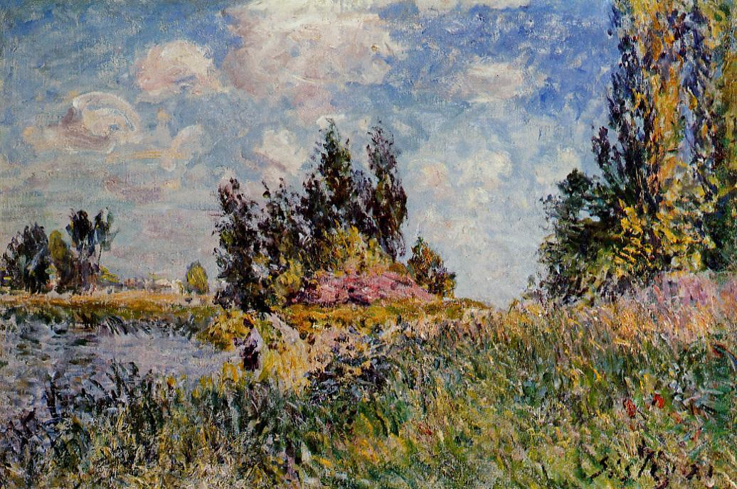 famous painting Landscape The Banks of the Loing at Saint Mammes of Alfred Sisley