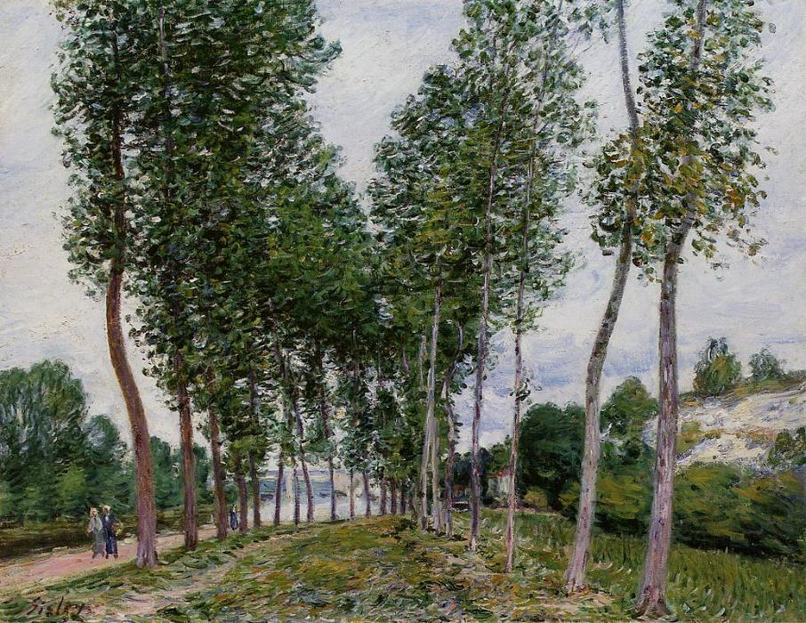 famous painting Lane of Poplars on the Banks of the Loing of Alfred Sisley