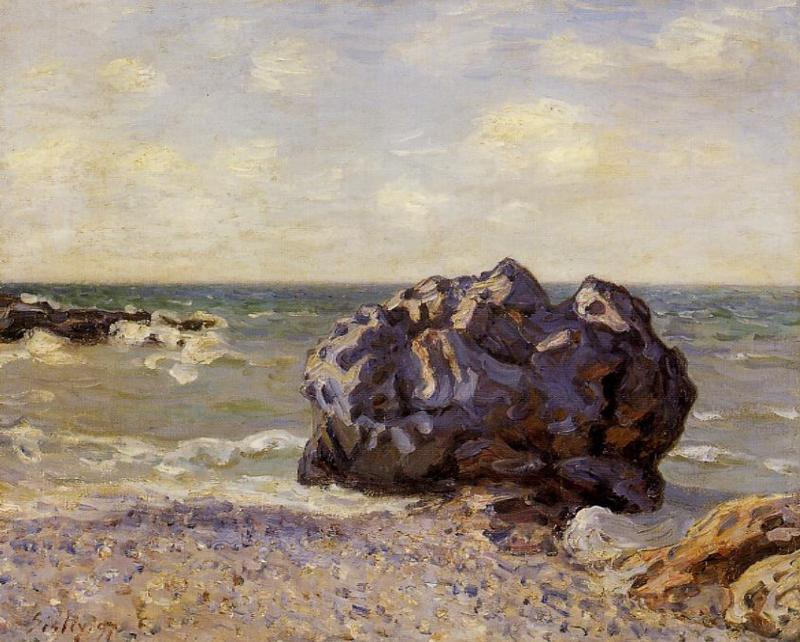 famous painting Langland Bay, Storr s Rock, Morning of Alfred Sisley